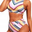 Candy Color Striped Tank High Waist Bikini
