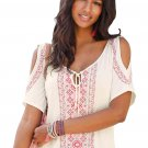 White Cold Shoulder Printed Top