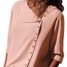 Pink Turndown Collar Asymmetric Button Down Blouse