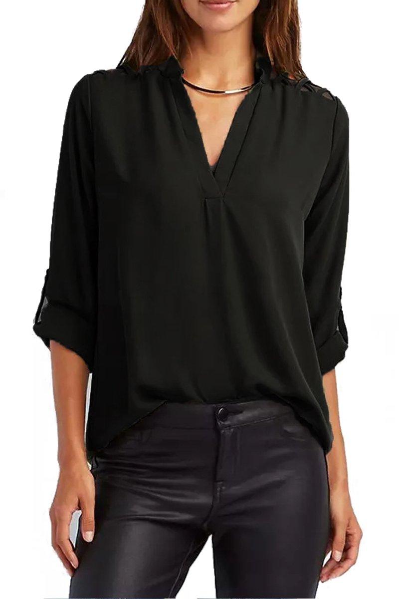 Black Crisscross Shoulder Detail Roll Tab Blouse