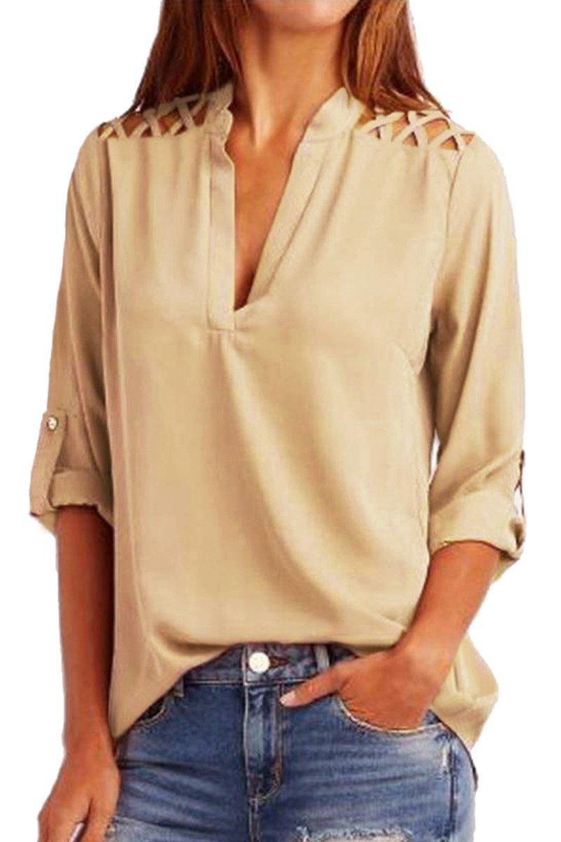 Khaki Crisscross Shoulder Detail Roll Tab Blouse