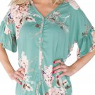 Blue Peony Blossom Black Tie Front Blouse