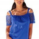 Royal Blue Floral Crochet Short Sleeve Cold Shoulder Top