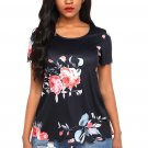 Black Pink Floral Scalloped Top
