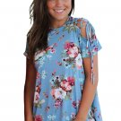 Blue Floral Top with Lace up Shoulder