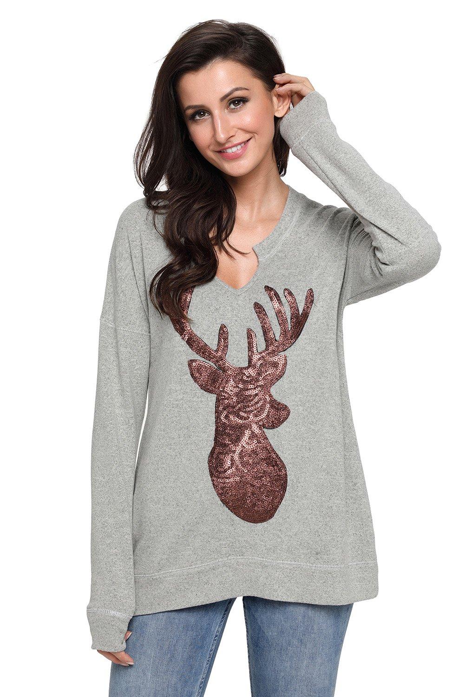 Gray Women�s Sequin Christmas Reindeer Top