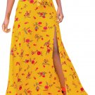 Yellow Floral Thigh Slit Maxi Skirt