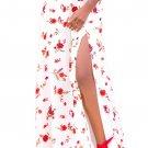 White Floral Front Thigh Slit Maxi Skirt