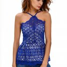 Blue Floral Lace Overlay Fit & Flare Top