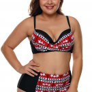 Plus Size Black White Stars Print Bikini Swimsuit