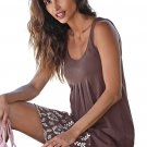 Bohemian Flowery Detail Coffee Short Tank Dress