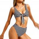 Black White Striped Tie Front High Waist Bikinis