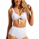 White Tie Front Bikini Ruched High Waist Swimsuit