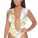 White Gold Chain Print Daring Sexy Bodysuit