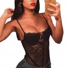 Black Designful Underwire Lace Mesh Bodysuit