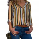 Yellow Multicolor Striped Long Sleeve Button Down Shirt