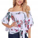 White Floral Tie Front Off The Shoulder Top