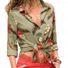 Green Long Sleeve Floral Print Button Front Shirt