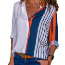 Orange Indigo Striped Long Sleeve Button Down Shirt