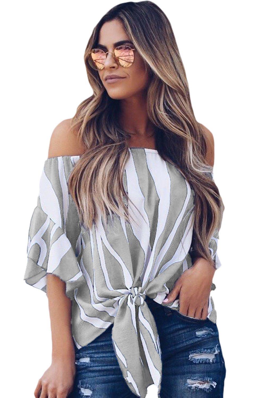 Off The Shoulder Vertical Stripes Blouse in Grey