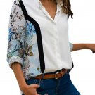 Multicolor Long Sleeve Floral Print Button Front Shirt