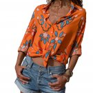 Orange Long Sleeve Floral Print Button Front Shirt