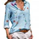Light Blue Long Sleeve Floral Print Button Front Shirt