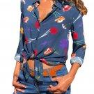 Dark Blue Long Sleeve Floral Print Button Front Shirt