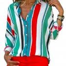 Green Blue Striped Long Sleeve Button Down Shirt