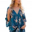 Blue Flowery Print Tie Front Kimono Sleeve Blouse