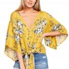 Mustard Flowery Print Tie Front Kimono Sleeve Blouse