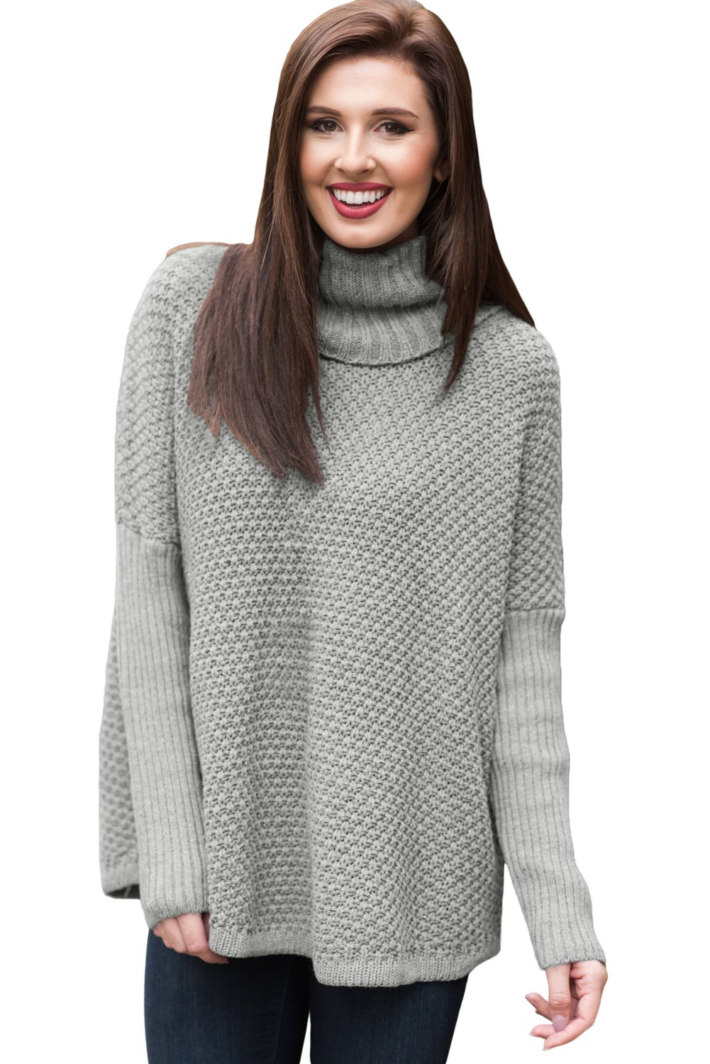 Grey Ribbed Sleeves Turtleneck Sweater Pullover
