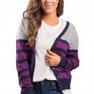 Plum Striped Grey Fuchsia Lightweight Knitted Cardigan