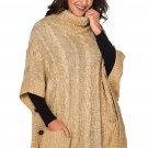 Khaki Pocket Style Turtleneck Poncho Sweater