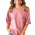 Pink Button up Shift Top with Pocket