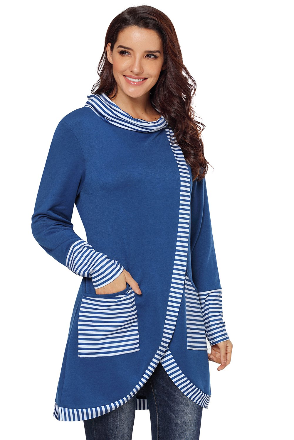 Navy Asymmetric Striped Cowl Neck Top
