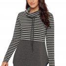 Grey Striped Colorblock Drawstring Cowl Neck Sweatshirt