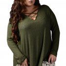 Green Crisscross Crochet Hem V Neck Plus Size Top