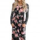 Fashion Black Floral Stripe Side Pocket Boho Dress
