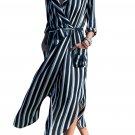 Contrast Vertical Striped Notch Lapel Belted Shirt Dress