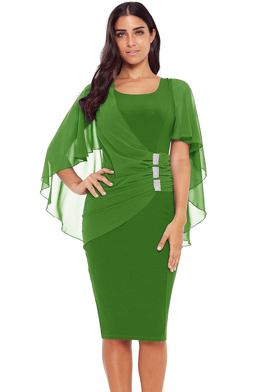 Green Waist Pleats Rhinestone Detail Midi Dress