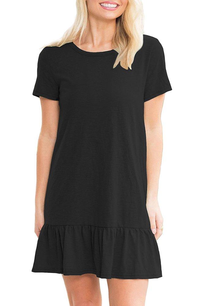 Black Strappy Back Ruffle Hem Casual Shirt Dress