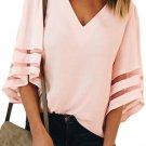 Pink Flare Sleeve V Neck Loose Blouse