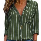 Olive Green Striped Roll Tab Sleeve Button Shirt