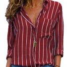 New Burgundy Striped Roll Tab Sleeve Button Shirt