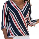 Affordable Red Accent Stripe Long Sleeve V Neck Shirt