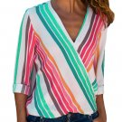 Colorful Stripe Long Sleeve V Neck Shirt