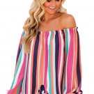 Women In Rosy Multicolor Striped Off Shoulder Blouse