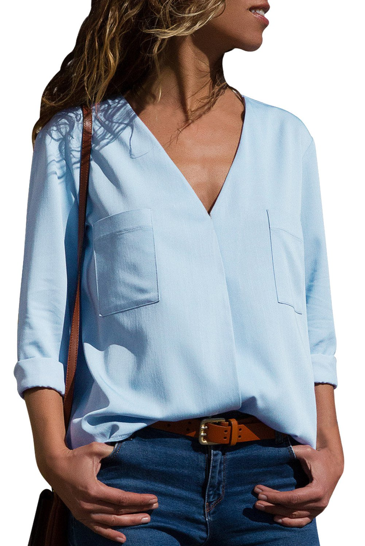Light Blue Pockets V-Neck Long Sleeve Blouse
