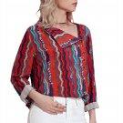 Multicolor Print Asymmetric Button Down Shirt